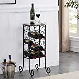VECELO Metal Wine Rack Console Table, Freestanding Floor Bottles Organizer & Display Shelf with Faux Marble Finish Top, for Bar Kitchen Dining Living Room, Small Spaces, Holds 15, Black