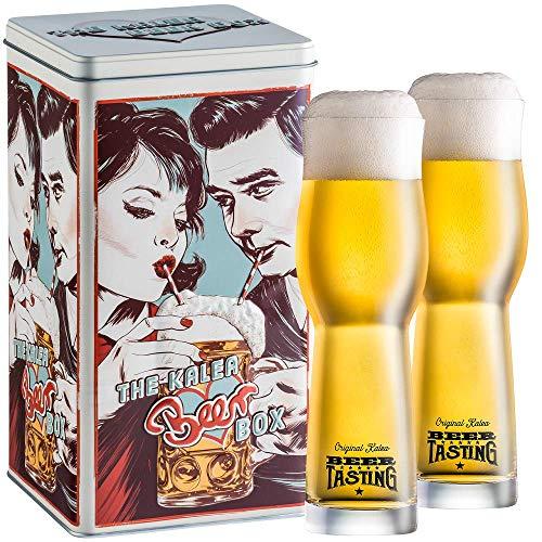 Kalea Beer Box | Metallbox mit 3D-Prägung | 4 X 0.33 L Bierspezialitäten | Inkl. 2 Verkostungsgläser (Edition Drinking Couple)