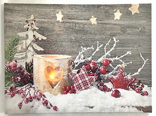 Jürgen Schleiß Konfektion LED-Bild Leinwandbild Leuchtbild Wandbild 15x20cm flackernd Wellnes Spruch Kerze Weihnachten Winter