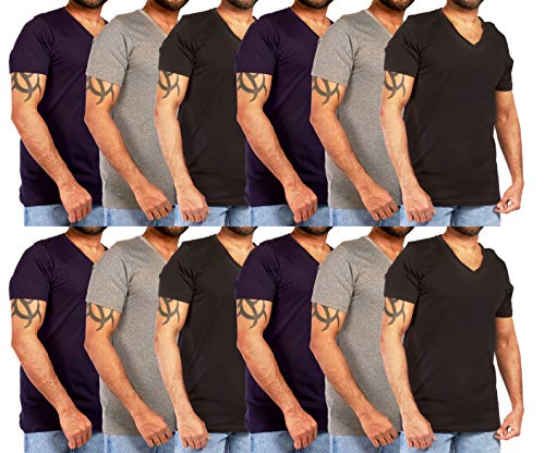 12 Pack Of Men's Cotton Colored V-Neck T-Shirts - Available In Small To XXLarge (M7176 Color) (Large,Dark Pack A)