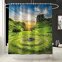 4ピースのバスルームセット、中国風の竹3 dカラフルなプリント布のシャワーカーテンの敷物の浴室デコ用トイレカバーマットセット C-Shower curtain