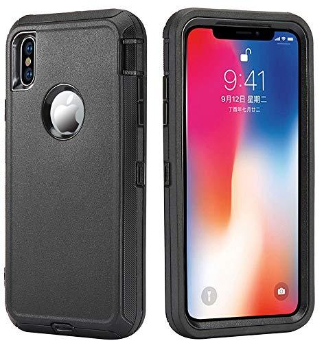 Schutzhülle für iPhone XS Max, [Heavy Duty] 4 in 1 robuste, kurzfeste Schutzhülle mit Ständer/Bildschirmschutzfolie für Apple iPhone XS Max (2018), schwarz