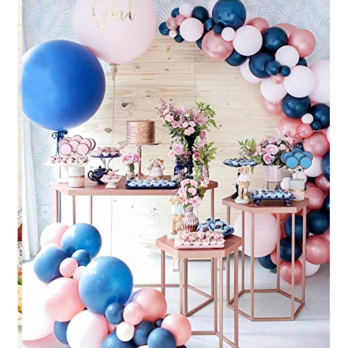 Soonlyn Gender Reveal Party Balloons 110 Pack 12 In Navy Rose Gold Balloons, Latex Pink Balloons Garland Arch Kit for Birthday Baby Shower Party