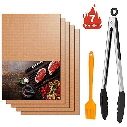 Winzwon BBQ Grillmatte, Wiederverwendbar Grillmatten, Backmatte und BBQ Antihaft Grillmatte für Fleisch, Fisch und Gemüse 40x33 cm(Kupfer)