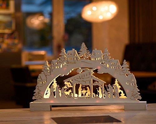LED Lichterbogen - Schwibbogen aus echtem Holz/mit 10 Led beleuchtet/warm-weiß/mit Timerfunktion/kabellos/inkl. Batterien (Krippe)