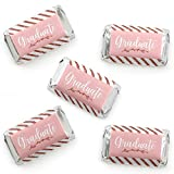 Big Dot of Happiness Rose Gold Grad - Mini Candy Bar Wrapper Stickers - Graduation Party Small Favors - 40 Count