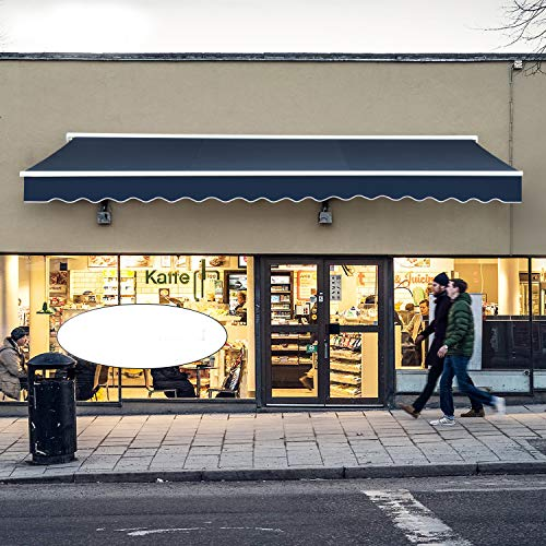 Diensweek Patio Awning Retractable 15'x10' Fully Assembled Manual Commercial Grade - Quality 100% 280G Ployester Window Door Sunshade Shelter - Deck Canopy Balcony P100 Series (15'x10', Navy Blue)