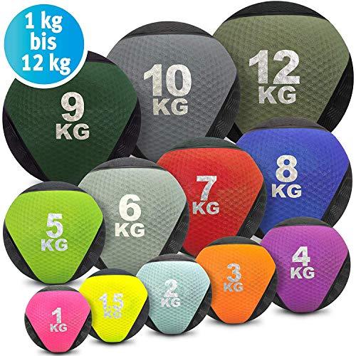 Palla medica colorata - Palla medica in gomma in 1kg, 1,5kg, 2kg, 3kg, 4kg, 5kg, 6kg, 7kg, 8kg, 9kg, 10kg, 12kg di peso, crossfit, bodybuilding, Slamball, Wallball, Reha e Fitness, Set-4+6+8 KG