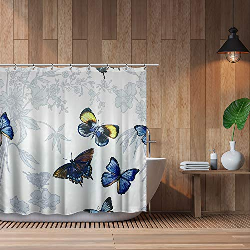 Cosmo Supply Butterfly Shower Curtain Set – Colorful Fabric Shower Curtain – Blue Butterfly Bathroom Decor - Summer Butterflies Shower Curtain for Bathroom