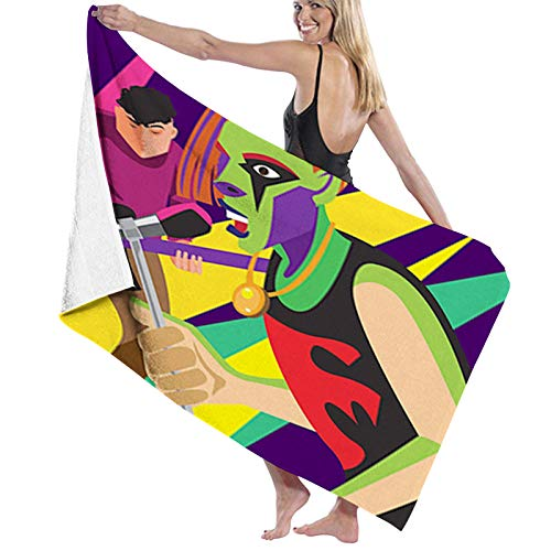 Microfiber Beach Towel,Gothic Heavy Tune Lovers in a Creative and Colorful Style,Beach Blanket Soft Quick Dry Yoga Towel Suitable for Adults Women men1