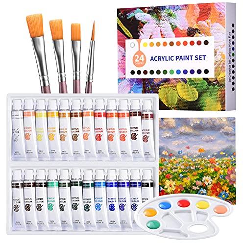 ATMOKO Set de Peinture Acrylique 29 PCS,Tubes de Peinture de 24 Couleurs pourToile,Bois, Céramique,Tissu,3 Pinceaux,1Palette de Couleurs,1Toile,Non Toxiques pour Débutants ou Professionnels
