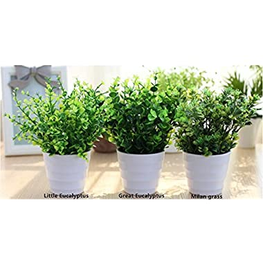 XICHEN 3 suit Artificial Potted Simulation plant potted indoor green plant small bonsai pastoral living room office display simulation flower (White)