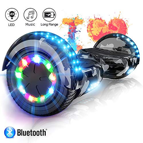 COLORWAY Hover Scooter Board Hoverboard 6,5 Zoll Elektro Scooter Self Balance Board - Bluetooth - LED Lichter - EU Sicherheitsstandards (Army Green)
