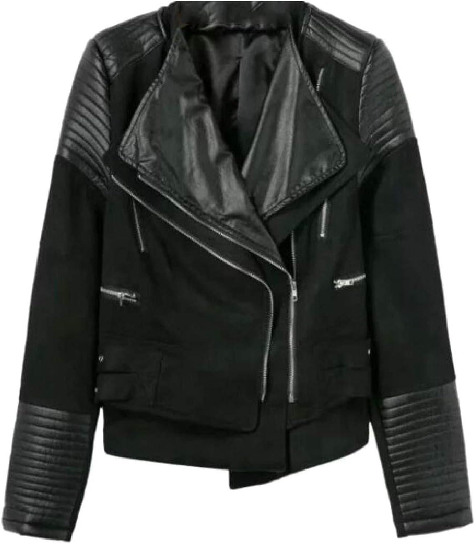 Women Double Zipper Lapel Slim Faux Leather Motorcycle Biker Jackets