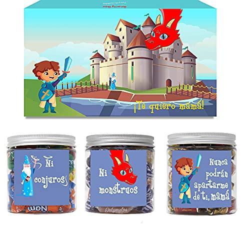 SMARTY BOX Caja Regalo Chuches Día de la Madre Original Caramelos y Gominolas para la Mejor Mamá del Mundo con Frases, Cumpleaños, Cesta Dulces Golosinas sin Gluten, Fabricado en España