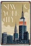 Metal Tin Sign New York City Empire State Building at Night Pub Outdoor Bar Retro Poster Home Kitchen Restaurant Wall Decor Signs 16X12inch