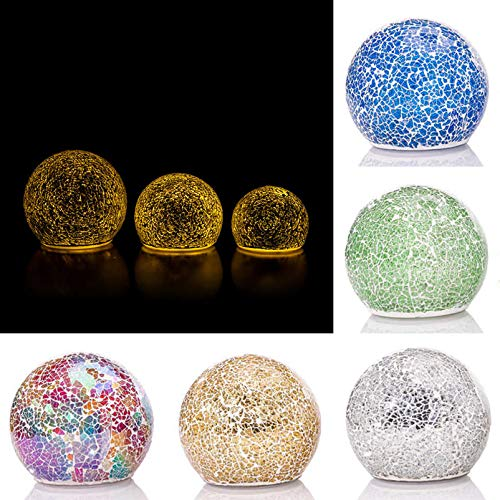 DbKW 3 beleuchtete LED Outdoor- Kugeln, 13, 11 & 9 cm, inkl. Batterien, Garten Glaskugeln Leuchtkugel (Mosaik Gold)…