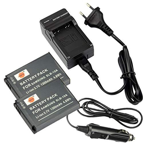 DSTE®(2 Pack)Ersatz Batterie und DC23E Reise Ladegerät Compatible für Samsung SLB-10A P800 P1000 PL50 PL51 PL55 PL60 PL65 PL70 SL102 SL202 SL310 SL420 SL620 SL720 SL820 TL9 WB150F WB250F WB350F WB500