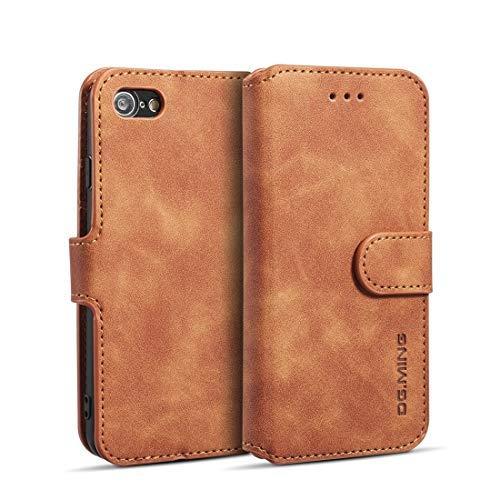 FATEGGS Accesorios para teléfono móvil Retro Oil Side Horizontal Flip Case con soporte y ranuras para tarjetas y cartera para iPhone 7/8 Funda (Color: Marrón)