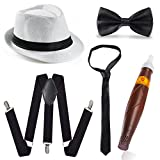 Beelittle 1920 Mens Accessory Set Manhattan Hut, Y-Rücken Hosenträger, Gangster Krawatte,...