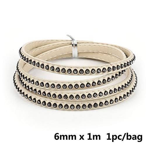 Crystal platte kabel 1m strass armband 6 mm en touw voor de doe-het maken van sieraden Choker Armband Fashion Accessories,ivoor