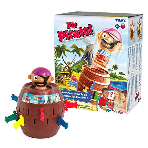 TOMY Games T7028 TOMY Pop Up Pirate Classic Children's Action Board Game Toy, Wood-Choc Brown