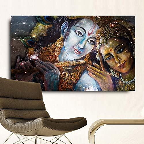 Frameloze olieverfschilderij Embelish grote grootte Georhna en Radha Boeddha Hd canvas olie NGS voor de woonkamer muurkunst afbeeldingen Living Roo