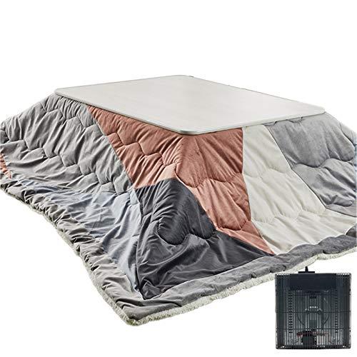 Winter Kotatsu Tisch Warmer Tisch mit Heizung 4-teilig Japanischer Ofentisch Innen Couchtisch Tatami Erker Fenstertisch (Color : Grey, Size : 120 * 75 * 38cm)