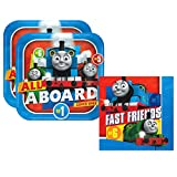 Thomas the Tank Engine Party Pack for 16 Guests - 16 Dessert Plates and 16 Beverage Napkins