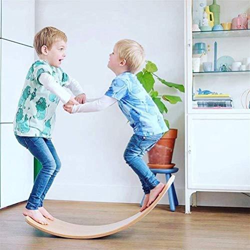 GZDD Kid Yoga Junta con Curvas de Madera de niños Waldorf Wobble Balance Board como en Cualquier Esquina, Túnel, Barco, Rocker, Diapositivas, Mesa, Equilibrio - Juguetes educativos