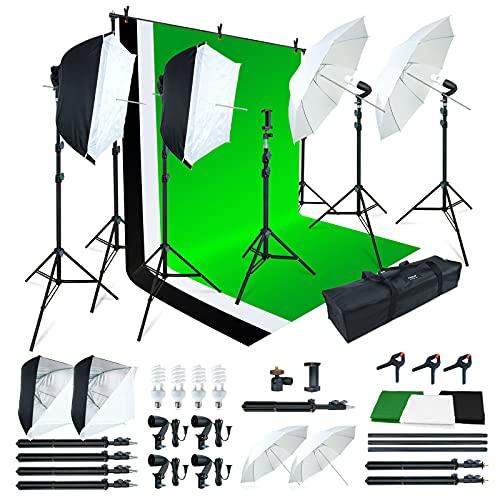 Linco Lincostore Photo Video Studio Light Kit AM169 - Including 3 Color Backdrops (Black White Green) Background Screen