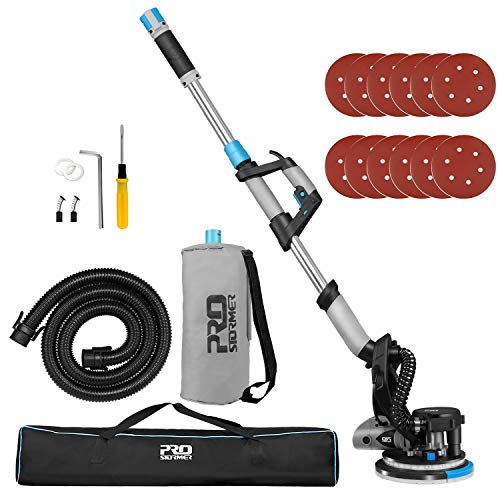 Drywall Sander, 6.5A Electric Drywall Sander Machine with Automatic Vacuum System, 500 to 1800(R/MIN) Variable Speeds with LED Light, 12Pcs Sanding Pads, Extendable Handle and Carrying Bag