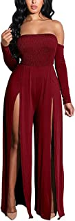 Women's Sexy Tube Top Strapless Split Wide Leg Jumpsuits Rompers