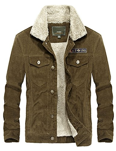 Yeokou Men's Vintage Slim Sherpa Lined Shearling Corduroy Trucker Jacket (Large, Coffee)