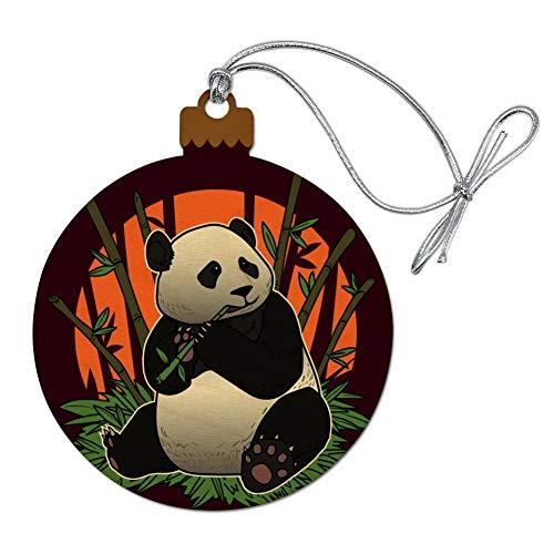 GRAPHICS & MORE Giant Panda Bear Eating Bamboo Wood Christmas Tree Holiday Ornament
