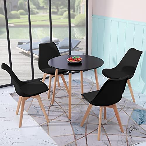 H.J WeDoo Essgruppe Esszimmertisch Esstisch Set 1 MDF Schwarz + 4 Modern Schwarz Esszimmerstühle, für Küche Esszimmer Konferenzzimmer