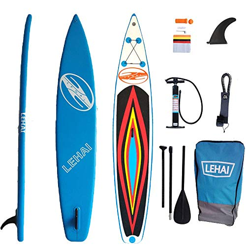 SHENGXUAN Stand Up Paddle Board Racing Inflatable 385x71x12cm Surf Paddle Board SUP Blue EVA Non-Slip Wakeboard for Profession Standing Boat Complete Accessories, Surf Control, Water Sports