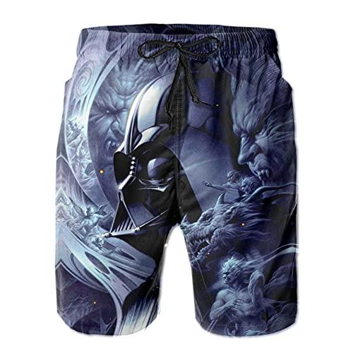 Los pantalones cortos de playa para hombre Star Darth Vader Wars son ligeros y transpirables, suaves y cómodos, de moda para hombres modernos para nadar y surfear dibujos animados de anime, blanco, L