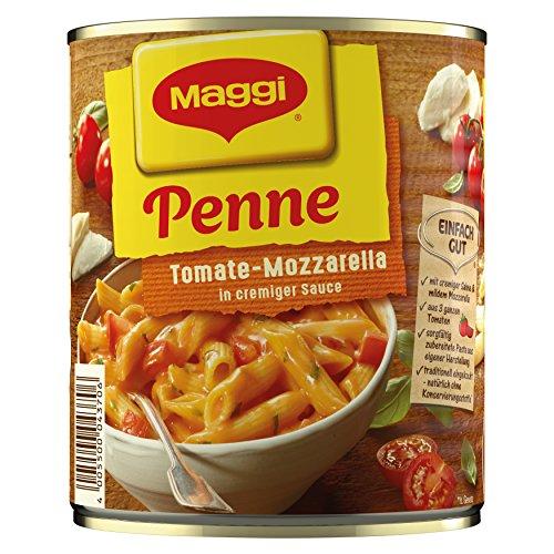 MAGGI Penne Tomate-Mozzarella, leckeres Fertiggericht, Eiernudeln in cremiger Sauce, für Topf & Mikrowelle, ideales Festival-Essen, 6er Pack (6 x 810 g)