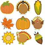 45 Pieces Thanksgiving Cutouts Fall Classroom Decoration, Fall Mix Colorful Cutouts Turkey Pumpkin Maple Leaves Acorn Corn Sunflower Cutouts with 100 Piece Adhesive Glue Point Dots Fall Theme Name Tag