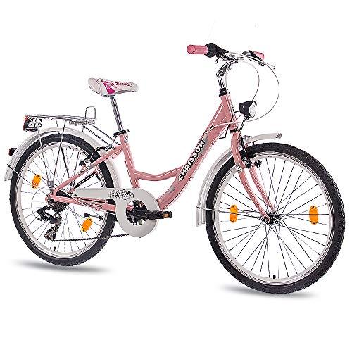 CHRISSON 24 Zoll Kinderfahrrad Mädchen - Relaxia rosa - Mädchenfahrrad mit 7 Gang Shimano Kettenschaltung - Fahrrad für Kinder zwischen 9-12 Jahre und 1,35m bis 1,50m Körpergröße