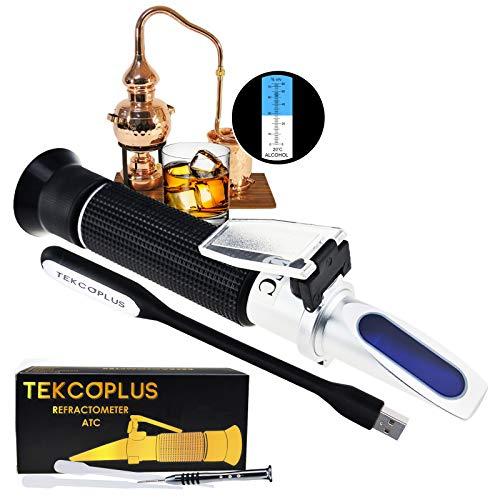 TEKCOPLUS Alkohol Refraktometer 0-80prozent - Qualitätsprodukt zur Bestimmung des Alkoholgehaltes in Spirituosen & Wein mit ATC (Automatischer Temperaturabgleich)