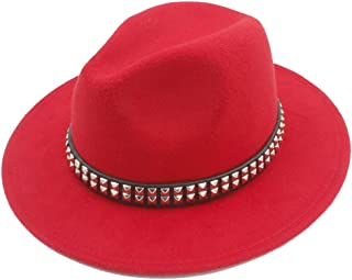 Fedora Cap Fashion Men Women Wool Fedora Hat Dance Party Hat Casual Wild Church Hat Pop Panama Jazz Hat Size 56-58CM Felt hat (Color : Red, Size : 56-58)