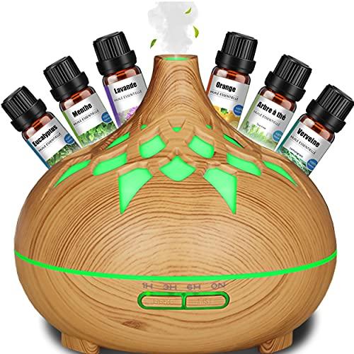 Diffuseur d'huiles essentielles bois + 6 huiles essentielles pure naturelle /Parfum Humidificateur d'air Veilleuse - Désodorisant maison Brume fraiche d'arôme Décoration salon - Huile Massage 500ML