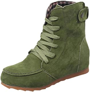 Women Flat Boots HGWXX7 Solid Ankle Snow Motorcycle Boots Female Suede Leather Lace-Up Boot