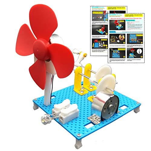 EUDAX DIY Dynamo Lantern Educational STEM Building Toy, Hand Cranked Power Generator,Generators Science Kit, Light Bulb Science Experiments Kits for Kids Age