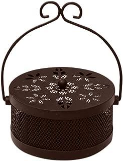 Togethor Mosquito Coil Holder Retro Portable Mosquito Incense Burner Metal Mosquito Sandalwood Holder Tin Incense Coil Burner with Cover for Home Garden