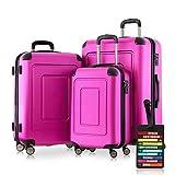 Happy Trolley - 3er Koffer-Set Trolley-Set Rollkoffer Hartschalen-Koffer Reisekoffer Lugano sehr leicht, TSA, (S, M & XL), Pink + Design Kofferanhänger