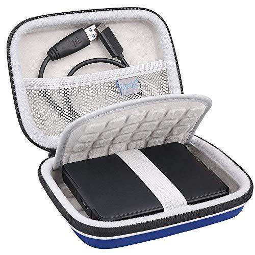 "Lacdo Externe Festplattentasche Schutz Hülle für Seagate Game Drive PS4, Seagate Expansion, Seagate Portable Drive, WD Elements My Passport 2,5\"" HDD 1TB 2TB 3TB 4TB 5TB Stoßfest Tragbar Case, Blau"