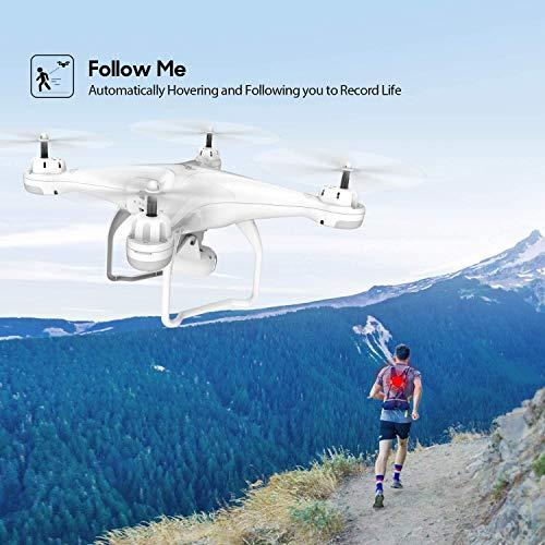 Potensic Drone con Telecamera Drone GPS Professionale T25 FPV con Fotocamera HD 1080P 120 ° Grandangolo Regolabile Dual GPS Seguimi RTH con Due Batterie, Telecomando, Valigetta da Trasporto